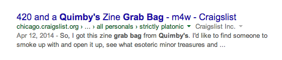 420 and a Quimby's Zine Grab Bag - m4w - Craigslist