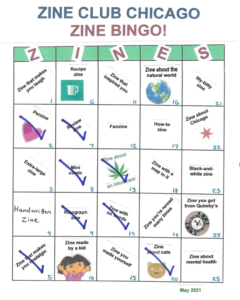 A handmade Zine Bingo board with a description of a different category of zine in each square; some squares are checked off.